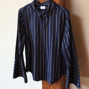 Abound Navy Blue, gold, and white striped shirt
